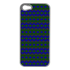 Split Diamond Blue Green Woven Fabric Apple Iphone 5 Case (silver) by Mariart