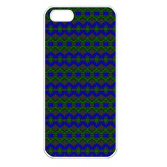 Split Diamond Blue Green Woven Fabric Apple Iphone 5 Seamless Case (white) by Mariart