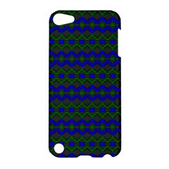 Split Diamond Blue Green Woven Fabric Apple Ipod Touch 5 Hardshell Case by Mariart