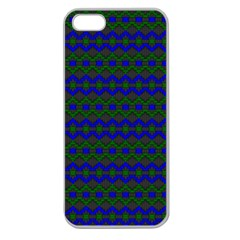 Split Diamond Blue Green Woven Fabric Apple Seamless Iphone 5 Case (clear) by Mariart