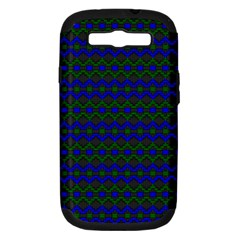 Split Diamond Blue Green Woven Fabric Samsung Galaxy S Iii Hardshell Case (pc+silicone) by Mariart