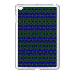 Split Diamond Blue Green Woven Fabric Apple Ipad Mini Case (white) by Mariart