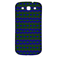 Split Diamond Blue Green Woven Fabric Samsung Galaxy S3 S Iii Classic Hardshell Back Case by Mariart