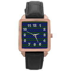 Split Diamond Blue Green Woven Fabric Rose Gold Leather Watch  by Mariart