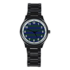 Split Diamond Blue Green Woven Fabric Stainless Steel Round Watch by Mariart