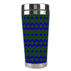 Split Diamond Blue Green Woven Fabric Stainless Steel Travel Tumblers by Mariart