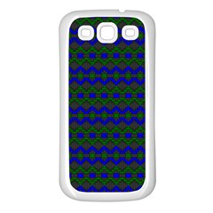 Split Diamond Blue Green Woven Fabric Samsung Galaxy S3 Back Case (white) by Mariart