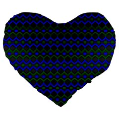 Split Diamond Blue Green Woven Fabric Large 19  Premium Flano Heart Shape Cushions by Mariart