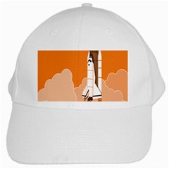 Rocket Space Ship Orange White Cap by Mariart