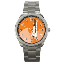 Rocket Space Ship Orange Sport Metal Watch by Mariart