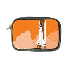 Rocket Space Ship Orange Coin Purse by Mariart