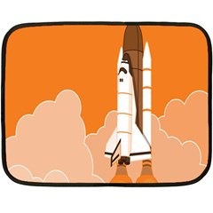 Rocket Space Ship Orange Double Sided Fleece Blanket (mini)  by Mariart
