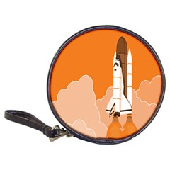 Rocket Space Ship Orange Classic 20 Cd Wallets by Mariart
