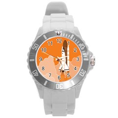 Rocket Space Ship Orange Round Plastic Sport Watch (l) by Mariart