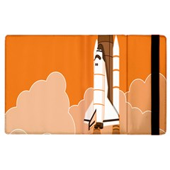 Rocket Space Ship Orange Apple Ipad 3/4 Flip Case by Mariart