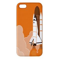 Rocket Space Ship Orange Apple Iphone 5 Premium Hardshell Case by Mariart