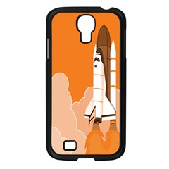 Rocket Space Ship Orange Samsung Galaxy S4 I9500/ I9505 Case (black) by Mariart