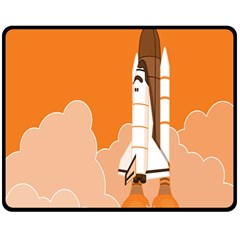 Rocket Space Ship Orange Double Sided Fleece Blanket (medium)  by Mariart