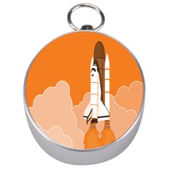 Rocket Space Ship Orange Silver Compasses by Mariart