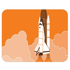 Rocket Space Ship Orange Double Sided Flano Blanket (medium)  by Mariart