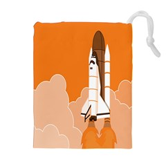 Rocket Space Ship Orange Drawstring Pouches (extra Large) by Mariart