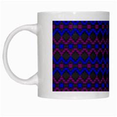 Split Diamond Blue Purple Woven Fabric White Mugs by Mariart