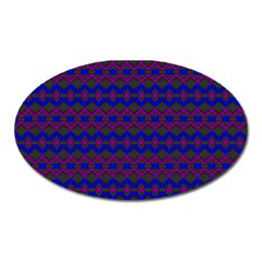 Split Diamond Blue Purple Woven Fabric Oval Magnet by Mariart