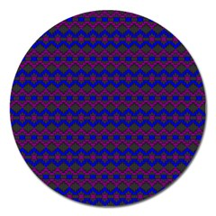 Split Diamond Blue Purple Woven Fabric Magnet 5  (round) by Mariart