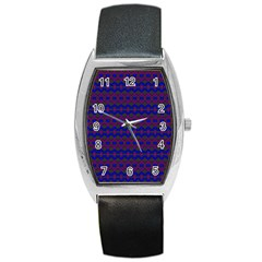 Split Diamond Blue Purple Woven Fabric Barrel Style Metal Watch by Mariart