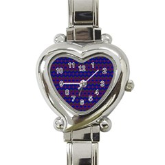Split Diamond Blue Purple Woven Fabric Heart Italian Charm Watch by Mariart