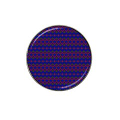 Split Diamond Blue Purple Woven Fabric Hat Clip Ball Marker by Mariart