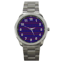 Split Diamond Blue Purple Woven Fabric Sport Metal Watch by Mariart