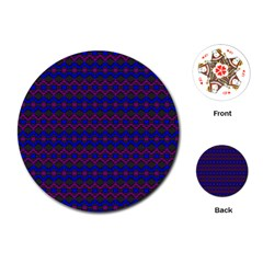 Split Diamond Blue Purple Woven Fabric Playing Cards (round)  by Mariart