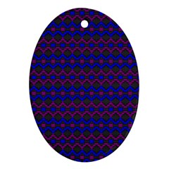 Split Diamond Blue Purple Woven Fabric Oval Ornament (two Sides) by Mariart