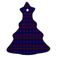 Split Diamond Blue Purple Woven Fabric Christmas Tree Ornament (two Sides) by Mariart
