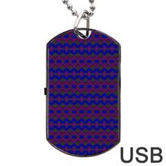 Split Diamond Blue Purple Woven Fabric Dog Tag Usb Flash (two Sides) by Mariart