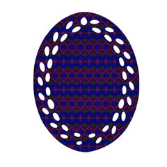 Split Diamond Blue Purple Woven Fabric Oval Filigree Ornament (two Sides) by Mariart