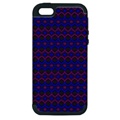 Split Diamond Blue Purple Woven Fabric Apple Iphone 5 Hardshell Case (pc+silicone) by Mariart