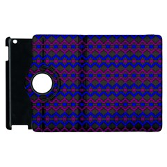 Split Diamond Blue Purple Woven Fabric Apple Ipad 2 Flip 360 Case by Mariart