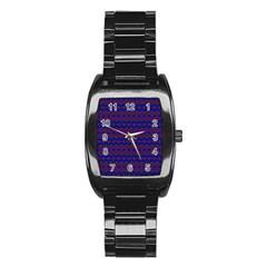 Split Diamond Blue Purple Woven Fabric Stainless Steel Barrel Watch by Mariart