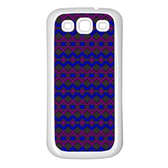 Split Diamond Blue Purple Woven Fabric Samsung Galaxy S3 Back Case (white) by Mariart