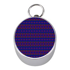 Split Diamond Blue Purple Woven Fabric Mini Silver Compasses by Mariart