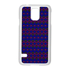 Split Diamond Blue Purple Woven Fabric Samsung Galaxy S5 Case (white) by Mariart