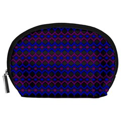 Split Diamond Blue Purple Woven Fabric Accessory Pouches (large)  by Mariart