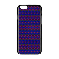 Split Diamond Blue Purple Woven Fabric Apple iPhone 6/6S Black Enamel Case