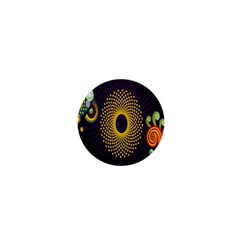 Polka Dot Circle Leaf Flower Floral Yellow Purple Red Star 1  Mini Magnets by Mariart