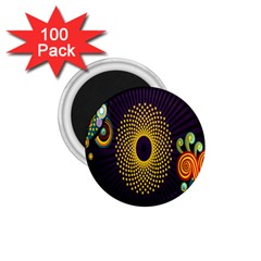 Polka Dot Circle Leaf Flower Floral Yellow Purple Red Star 1 75  Magnets (100 Pack)  by Mariart