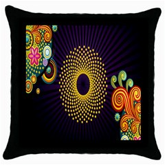 Polka Dot Circle Leaf Flower Floral Yellow Purple Red Star Throw Pillow Case (black) by Mariart