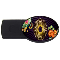 Polka Dot Circle Leaf Flower Floral Yellow Purple Red Star Usb Flash Drive Oval (4 Gb) by Mariart