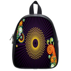 Polka Dot Circle Leaf Flower Floral Yellow Purple Red Star School Bags (small)  by Mariart